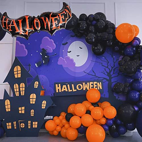 Diy Halloween Garlands (Halloween Balloon Garland Arch 123 Pieces with Large Bat Balloon Spider Web for Party ( Black Orange Purple)