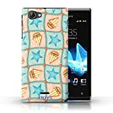 STUFF4 Phone Case / Cover for Sony Xperia J (ST26i) / Turquoise/Orange Design / Boat/Stars Pattern Collection / by Deb Strain / Penny Lane Publishing, Inc.