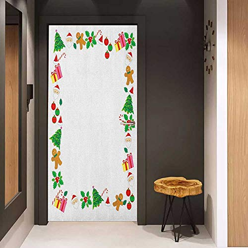 Toilet Door Sticker Kids Christmas Colorful Border with Different Clip Arts Holiday Festivity Santa Trees Balls Glass Film for Home Office W23.6 x H78.7 ()