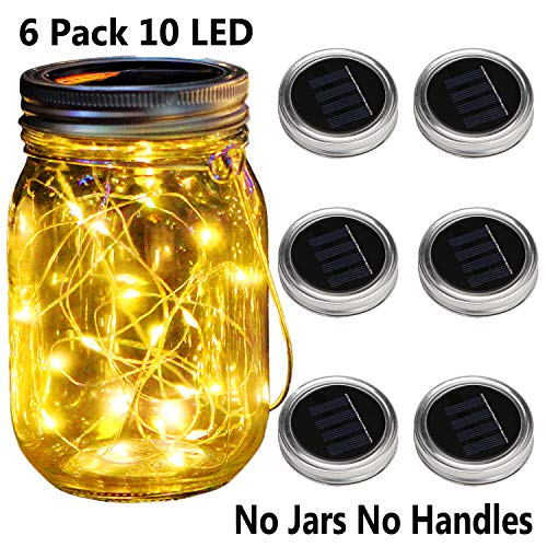 KZOBYD 6 Pack Mason Jar Lid Solar Waterproof Fairy Starry Firefly Lights for Regular Mouth Mason Jar Lantern on Patio Yard Pathway Festivals Home Decor (6, Warm White 10LED)
