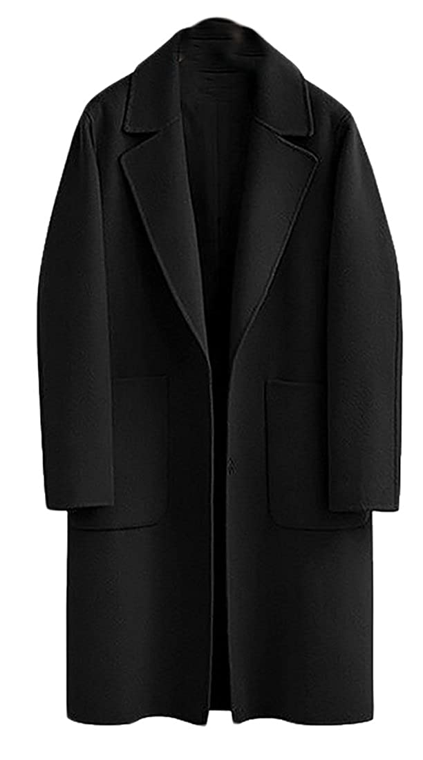Pivaconis Women's Plus Size Single Breasted Wool-Blend Trench Pea Coat