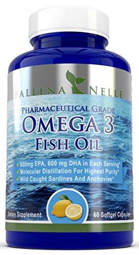 Ballena Nelle Pharmaceutical Grade Omega 3 Fish Oil 800mg EPA, 600mg DHA in each serving