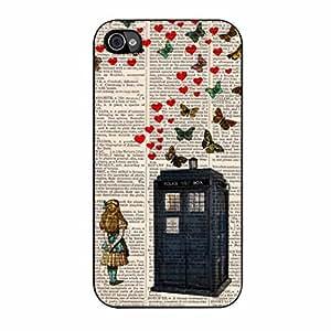 Alice In Wonderland 4 iPhone 4/4s Case (Black Plastic)