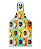 Lunarable Football Cutting Board, Colorful Squares Mosaic Pattern of Protective Equipment and Balls College Activity, Decorative Tempered Glass Cutting and Serving Board, Wine Bottle Shape, Multicolor