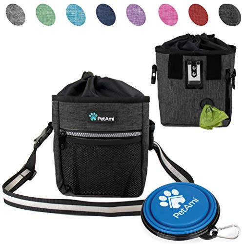PetAmi Deluxe Dog Training Pouch with Shoulder/Waist Strap and Built-in Poop Bag Dispenser | Dog Treat Training Bag for Treats, Kibbles, Pet Toys | Collapsible Food/Water Bowl Included (Charcoal) by PetAmi