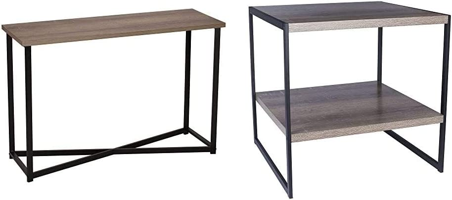 Household Essentials Ashwood Sofa Table | Console Table for Entryway | Gray-Brown & Square Wooden Side Table/End Table with Storage Shelf, Ashwood