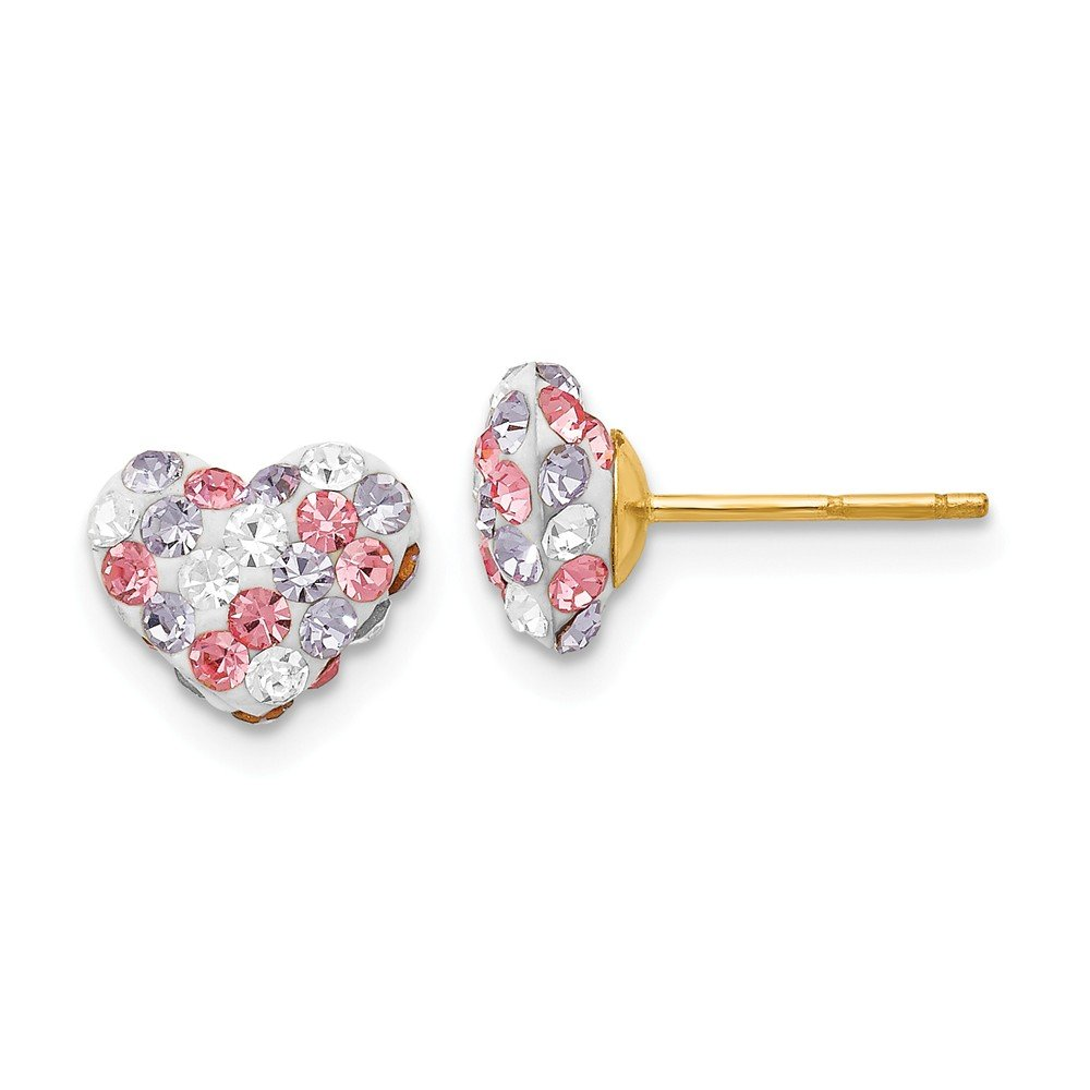 14k Yellow Gold Multicolored Crystal 8mm Heart Post Stud Earrings Ball Button Love Fine Jewelry Gifts For Women For Her