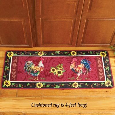 Red Rooster Kitchen mat with Sunflower Border
