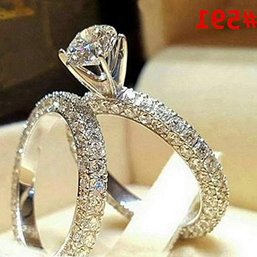 - Endicot Women Engagement Wedding Ring Crystal Rhinestone White Gold Plated Rings Jewelry | Model RNG - 5040 | 10