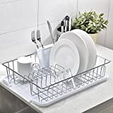 IKEBANA Commercial Chrome Wire Dish Drying Rack, Kitchen Dish Drainer Rack With White Plastic Cutlery Holder and Drainboard