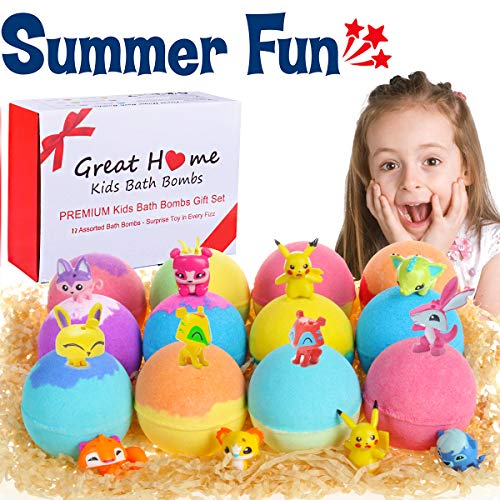 Kids Bath Bombs with Surprise Toys Inside for Kids Gift Set 12 Packs Bubble Bath Fizzies Bombs for Natural Organic Bath Vegan Pokemon Bombs Kit(Summer Promotion Week)