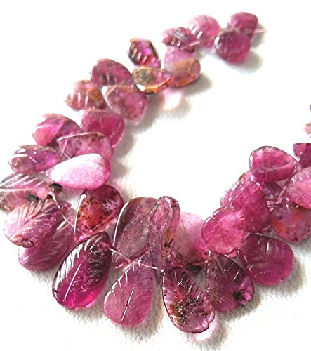 Natural PINK TOURMALINE carved tourmaline leaf shaped briolettes,4 inch strand Approx ,Size - 6x6 -- 7x13 (Natural Leaf Shaped Beads)