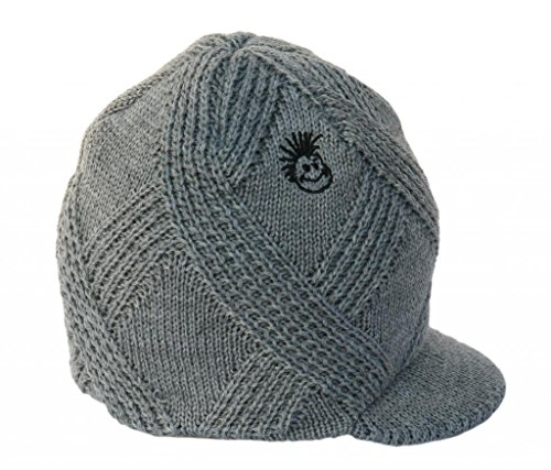 Stripe Visor Beanie - Born to Love Knuckleheads - Gray Boy's Baby Visor Beanie Hat with Stripes Detail SM
