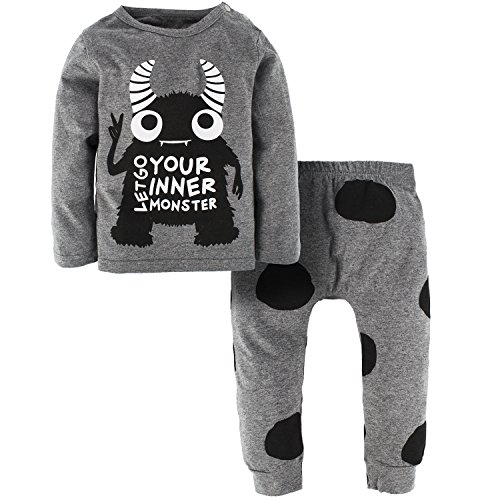 YIJIUJIU Toddler Boy 2 Piece Outfits Long Sleeve Baby Clothes Monsters Tops + Polka Dot Pants Set 12-18 -