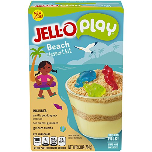 JELL-O Play Beach Creations Pudding Dessert Kit (9.3 oz Boxes, Pack of 6) -