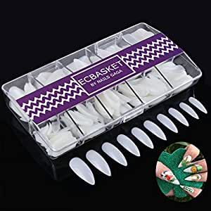 Ecbasket 500 Pcs 10 Different Sizes Long Claw Shape Stiletto Full Cover Natural Color Artificial Nail Tips with Box,Gift for Halloween