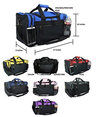 DALIX 17″ Duffle Bag Dual Front Mesh Pockets (Black Gold Gray Dark Green  Navy Blue Maroon Royal Blue Orange Pink Purple Red White 71357bbdd8