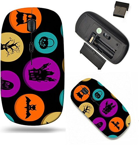 Liili Wireless Mouse Travel 2.4G Wireless Mice with USB Receiver, Click with 1000 DPI for notebook, pc, laptop, computer, mac book ID: 22187937 Happy Halloween colorful elements seamless pattern backg]()