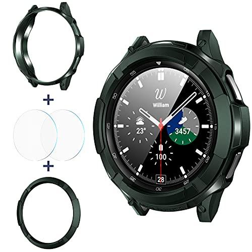 2 Protector+Funda Samsung Galaxy Watch 4 Classic 42mm Green