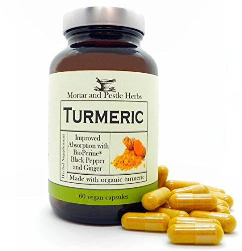 Turmeric Dietary Supplement (Mortar and Pestle Herbs - Turmeric Curcumin Supplement with 1000mg Pure Organic Turmeric, 95% Standardized Curcumin Extract - 60 Vegan Capsules - Made in the USA)