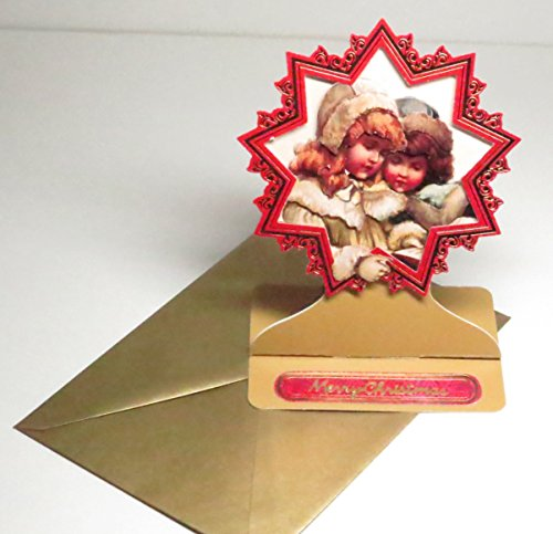Handmade 3D Vintage Winter Girls European Style Easel Merry Christmas Greeting Card with Red & Gold Metallic Star Frame & Gold Pearl Envelope - Limited Edition - 1 in stock