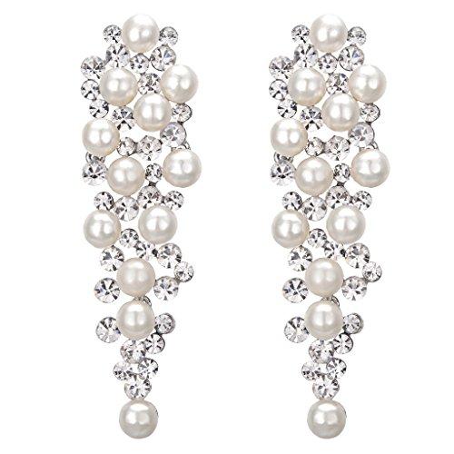 BriLove Womens Wedding Bridal Crystal Simulated Pearl Multi Beaded Cluster Chandelier Dangle Earrings