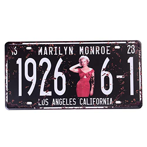 Marilyn Monroe Memorabilia License Plate, Tin Sign Wall Decor for Home Garage Man Cave Woman Cave, 6x12 Inch/15x30cm