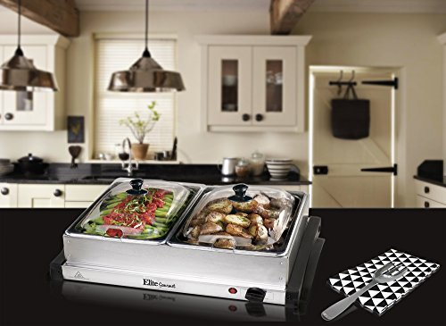 Elite Gourmet EWM-6122 MaxiMatic Double Buffet Server and Warmer