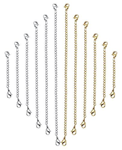 Jstyle+12+Pcs+Stainless+Steel+Extender+Chain+for+Necklace+Bracelet+Set+Jewelry+Extenders