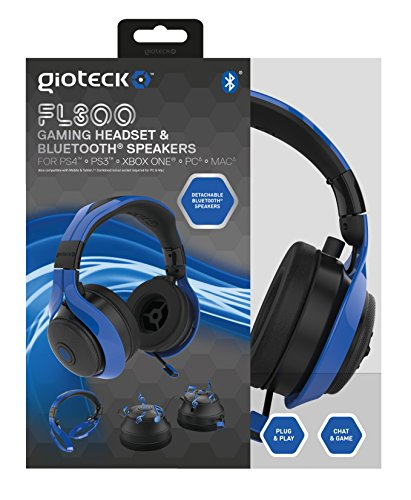 Gioteck FL-300 Wired Stereo Headset with Removable Bluetooth Speakers - Blue by Gioteck (Image #8)