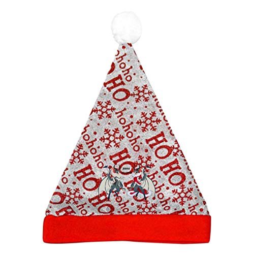 Merry Krampus Christmas Costume Hohoho Decoration Signs Decor Red Snowflake Santa Hat Party Gift Christmas Xmas Cap Vacation Funny Beanie Set Matching -