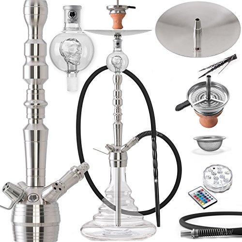 DILAW® Onyx Shisha Edelstahl Silber V2A 93cm Hookah Big Size + LED Licht | Wasserpfeife Kaminkopf Komplettset…