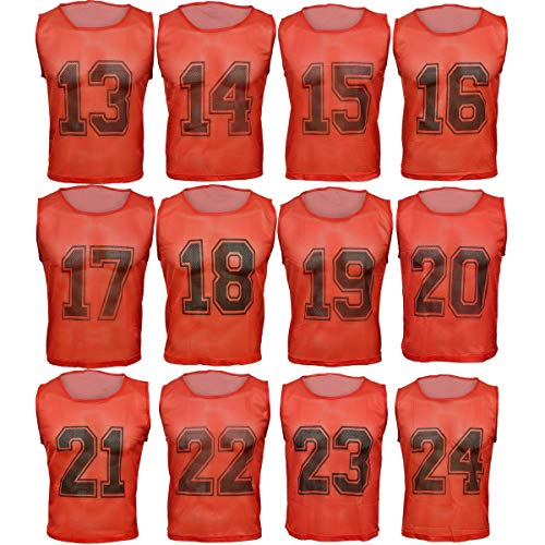 5133746b0 Athllete Set of 12 - Scrimmage Vest/Pinnies/Team Practice Jerseys with Free  Carry Bag. Sizes for Children Youth Adult and Adult XL (Lipstick Red  Numbered, ...