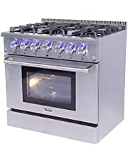 THOR KITCHEN Free Standing Freestanding Professional Style Gas Range with Burners, Convection Fan, Cast Iron Grates, and Blue Porcelain Oven Interior, in Stainless Steel 99HRG3618UCA