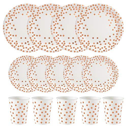 (ALINK 150PCS Biodegradable Rose Gold Disposable Paper Plates Cups Set, 50 Dinner Plates, 50 Salad Plates,50 Paper Cups for Birthday Party, Wedding, Thanksgiving, Christmas, Bridal/Baby Shower)