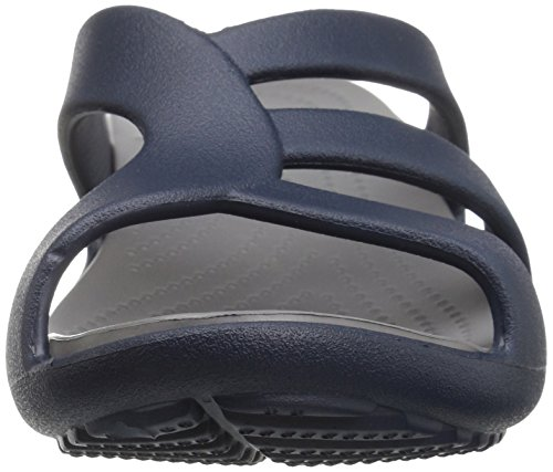 Strappy Crocs Azul smoke Para Sandalias Con Cuña Mujer Wedge Sanrah navy BnBw5xr8Cq