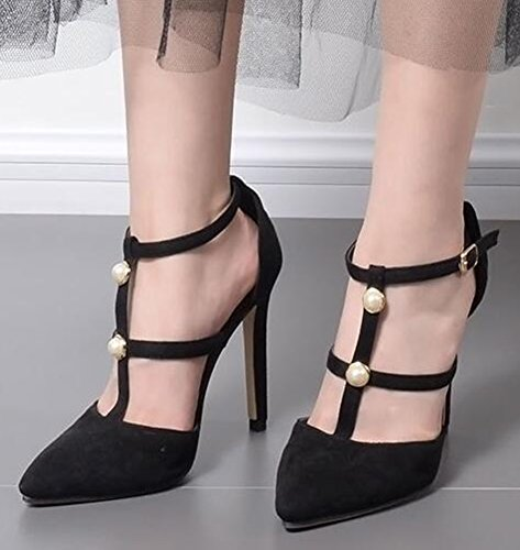 Toe Pointed Heels Sexy Pearls Black High Suede Faux Court Stiletto Shoes Women's Aisun With ISq0HwxX0