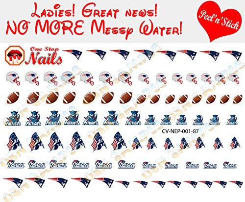 New England Patriots Clear Vinyl PEEL and STICK (NOT Waterslide) nail decals/stickers V1 (Set of 87)