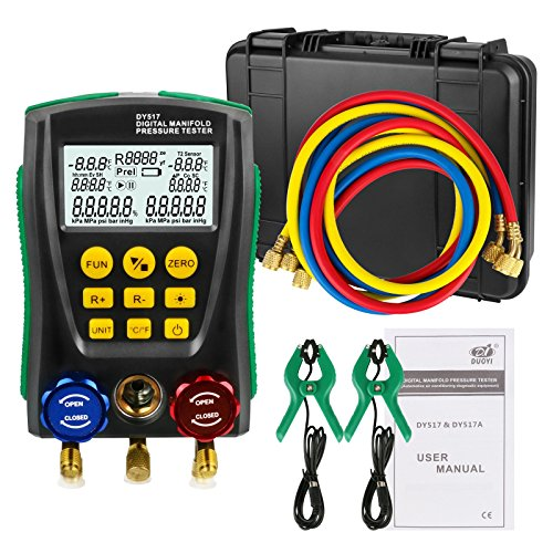 - Refrigeration Digital Manifold Guage Kit for Refrigeration System HVAC Vacuum Pressure Temperature Tester Kit with Test Clip and Pipe Built-in 89 kinds of refrigerant NIST 0 Kpa - 6000 Kpa -40°C-150°C