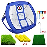 Pop Up Golf Chipping Net | Perfect Golf Gifts for Men, Outdoor Indoor Golfing Target Accessories and Backyard Practice Swing Game with 15 Training Balls and Two Hitting Mats