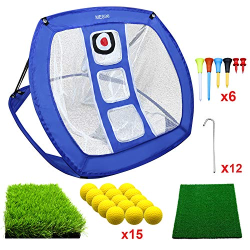 MESIXI Pop Up Golf Chipping Net | Perfect Golf Gifts for Men, Outdoor Indoor Putting Green Golfing Target Accessories Backyard Practice Swing Game with 15 Training Balls and Two Hitting Mats (Blue)