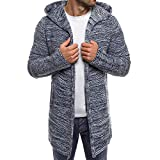 kaifongfu Men's Cardigan,Long Sleeve Outwear Solid Knit Trench Coat Jacket (Gray,XL)