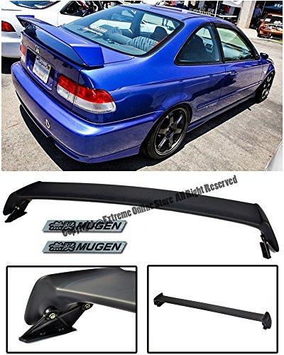 For 96-00 Honda Civic 2Dr Coupe JDM MUGEN Style Rear Trunk Lid Wing Spoiler Lip W/ 2 X Black Mugen Emblems EK 1996 1997 1998 1999 2000 96 97 98 99 00 (2dr Ground)