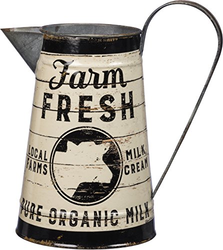 Rustic Distressed Metal Farm Fresh Pure Organic Milk Pitcher or Watering Can, Vase, or Jug by Primatives by Kathy