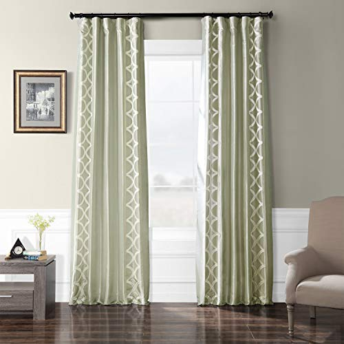 HPD Half Price Drapes EFSCH-18053C-84 Embroidered Faux Silk Taffeta Curtain 50 x 84 Espalier Sterling