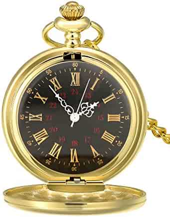 Mudder Smooth Antique Quartz Pocket Watch with Steel Chain (Gold)