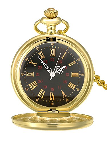 Mudder Smooth Antique Quartz Pocket Watch with Steel Chain (Gold) - Antique Pocket
