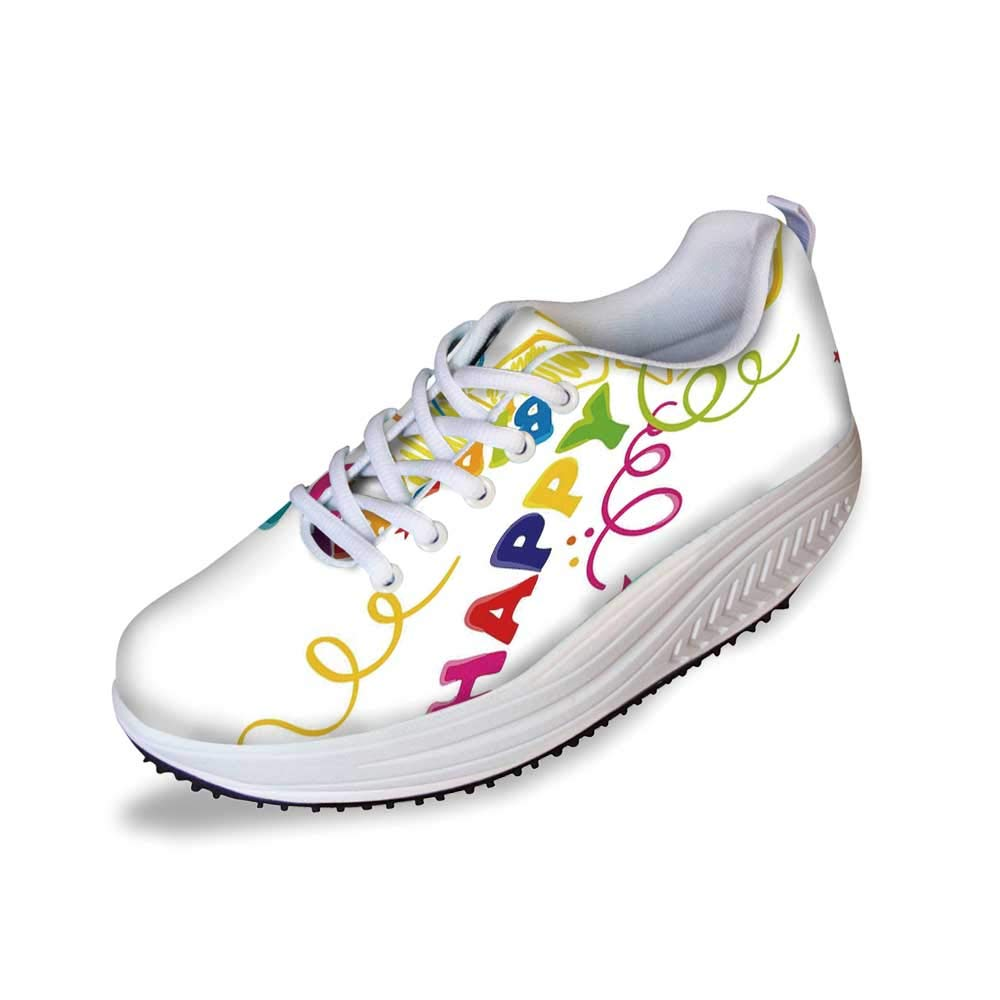 Birthday Decorations Stylish Shake Shoes,Surprise in a Box Doodle Style Cheerful Spirals Confetti and Stars for Women,7