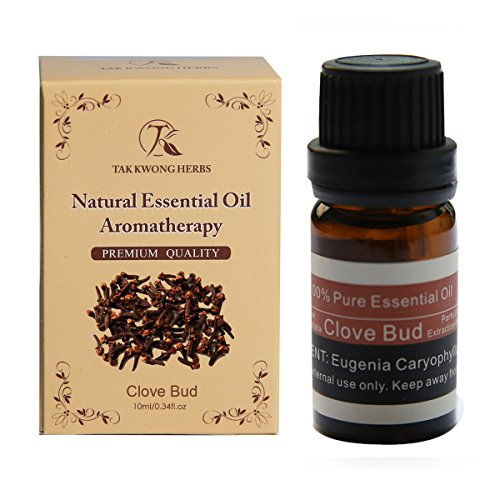 TKH 100% Pure Essential Oil Clove Bud Natural Perfume Oil Therapeutic Grade Undiluted Aromatherapy Oil 10ml 0.34 fl oz Carrying Piece