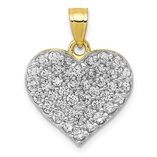(10k Yellow Gold Cubic Zirconia Cz Cluster Heart Pendant Charm Necklace Love Fine Jewelry For Women Gift Set)